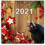 Символ года 2021 Белый Металлический Бык
