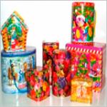 Новогодние жестяные баночки, коробки-тубусы
