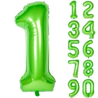 Воздушные шары Цифры, Яркий Лайм с гелием