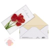 Конверт для денег 8 марта, алые тюльпаны, 16,5 х 8 см