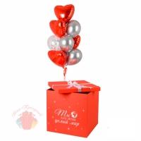 Коробка-сюрприз с шарами «Ты для меня весь мир»  70х70х70 см