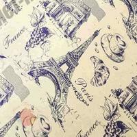 Крафт бумага Париж фиолетовый на коричневом