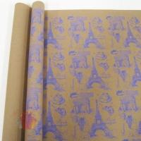 Крафт бумага Париж сиреневый на коричневом