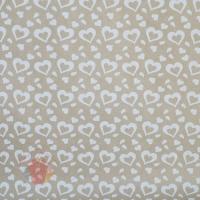 Крафт бумага Сердечки белый на коричневом фоне