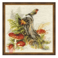 Набор для вышивания крестом Пенек с мухоморами 30*30 см