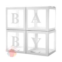 Набор коробок для воздушных шаров Baby, Белые грани, Прозрачный, 30*30*30 см, в упаковке 4 шт.