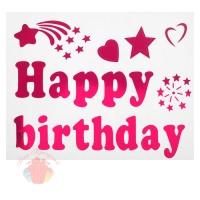 Наклейка на полимерные шары С днем рождения, звездный дождь, цвет розовый