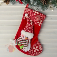 Носок для подарка Подарочек 18,5*26 см, снеговик красный