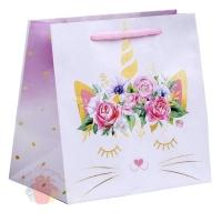 Пакет ламинированный квадратный Кошка‒единорожка, 22 × 22 × 11 см