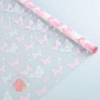 Пленка Бабочки кружево бело-розовые 40 мкм