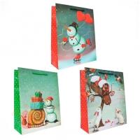 Подарочный пакет, ассорти, 26*32*10см (Забавные снеговики)