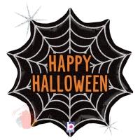 Шар (18''/46 см) Фигура, Паутинка на Хэллоуин, Черный, Голография, 1 шт.