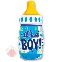 Шар (31''/79 см) Фигура, Бутылочка для мальчика (звездочки), Голубой, 1 шт.