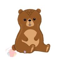 Шар (34''/86 см) Фигура, Лесной Медведь, Коричневый, 1 шт.