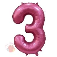 Шар 34/86 см Цифра, 3, Бордовый, Сатин