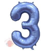Шар 34/86 см Цифра, 3, Синий, Сатин