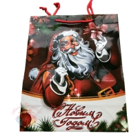 Сумка (пакет) КАРТОН Веселый Дед Мороз 26*32*12 см