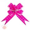 Бант-бабочка № 4,5 голография с рисунком 3D квадраты ярко-розовый