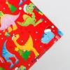Бумага упаковочная глянцевая «Новогодние динозаврики», 70 × 100 см