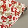 Бумага упаковочная крафт Сердца бело-красно-золотой  0.5 х 10 м