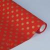 Бумага упаковочная крафт Золотой горох на красном 0.5 х 10 м