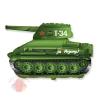 Фольгированный шар Фигура, Танк T-34, Зеленый, 1 шт.