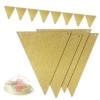 Гирлянда Флажки, Золото, с блестками, 300 см