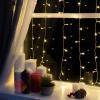 """Гирлянда """"Занавес"""", УМС вилка 1.5 х 1 м, LED-180-220V, 8 режимов, нить прозрачная, свечение тёплое белое"""