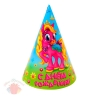 Колпак бумажный С днем рождения пони, бабочки, (набор 6 шт), 16 см 1033787