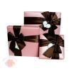 Коробка Изящный подарок с бантом Клубничный десерт средняя квадрат 15,5 х 15,5 х 4 см
