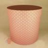 Коробки круглые крафт с рис. 23*21 Горох тонировка розовый