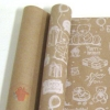 Крафт бумага глянц.вл. Европа МИШКИ белый цв. на коричневом фоне 70 см х 8,5 м