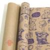 Крафт бумага глянц.вл. Европа МИШКИ фиолетовый цв. на коричневом фоне 70 см х 8,5 м