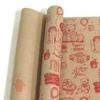 Крафт бумага глянц.вл. Европа МИШКИ красный цв. на коричневом фоне 70 см х 8,5 м