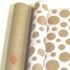 Крафт бумага глянц.вл. Европа Шары большие белый цв. на коричневом фоне 70 см х 8,5 м