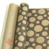 Крафт бумага глянц.вл. Европа Шары большие черный цв. на коричневом фоне 70 см х 8,5 м
