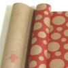 Крафт бумага глянц.вл. Европа Шары большие красный цв. на коричневом фоне 70 см х 8,5 м