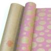 Крафт бумага глянц.вл. Европа Шары большие розовый цв. на коричневом фоне 70 см х 8,5 м