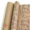 Крафт бумага глянц.вл. Европа Штрихи фиолетовый цв. на коричневом фоне 70 см х 8,5 м