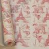 Крафт бумага Париж красный на коричневом 70 см х 8,5 м