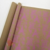 Крафт бумага Париж розовый на коричневом 70 см х 8,5 м