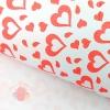 Крафт-бумага Валентинки рисунок красный на белом 70 гр.м2  70*850 см