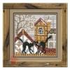 Набор для вышивания крестом Город и кошки. Осень 13*13 см