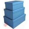 Набор коробок 3 в 1 Однотонный Голубой / прямоугольник