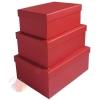 Набор коробок 3 в 1 Однотонный Красный / прямоугольник