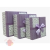 Набор коробок 3 в 1 Презент Фиолетовый с бантом / квадрат