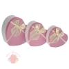 Набор коробок 3 в 1  Розовый, 22 х 20 х 9 - 16 х 14 х 6 см