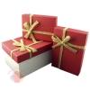 Набор коробок 3 в 1 Рустик Красный с бантом прямоугольник