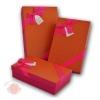 Набор коробок 3 в 1 Сладкая любовь Оранжевый с красным бантом прямоугольник