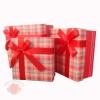 Набор коробок 3 в 1 Стильный принт Красный с бантом прямоугольник